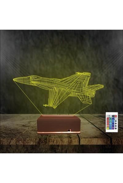 Algelsin Gece Lambası 3D 3 Boyutlu Jet Tasarımlı Masa Lambası