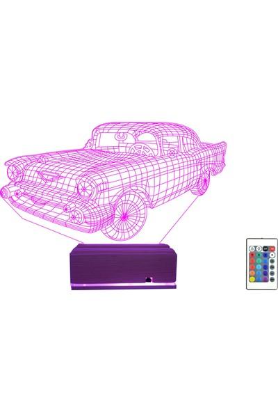 Algelsin Gece Lambası 3D 3 Boyutlu Klasik Araba Tasarımlı Led Masa Lambası