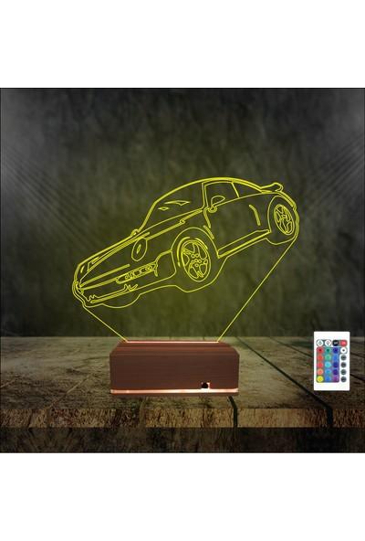 Algelsin 3D Led Gece Lambası Araba Tasarımlı 16 Renkli Masaüstü Lamba