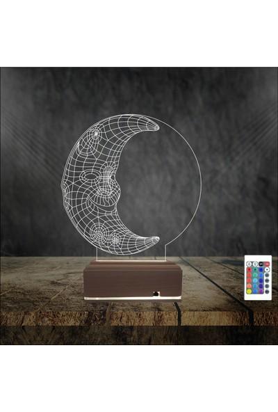 Algelsin Gece Lambası 3D Led Hilal Tasarımlı 16 Renkli Masa Lambası