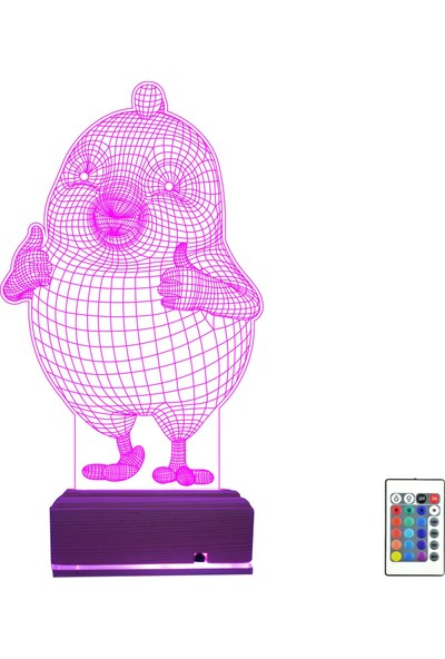 Algelsin Gece Lambası 3D 3 Boyutlu Led Sevimli Civciv Tasarımlı 16 Renkli Masa Lambası