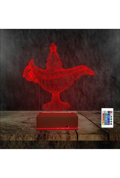 Algelsin Gece Lambası 3D 3 Boyutlu Matara Tasarımlı Led Masa Lambası