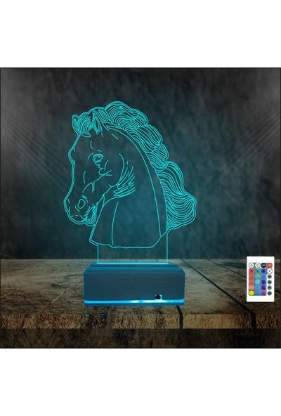 Algelsin Gece Lambası 3D 3 Boyutlu Led At Tasarımlı Masa Lambası