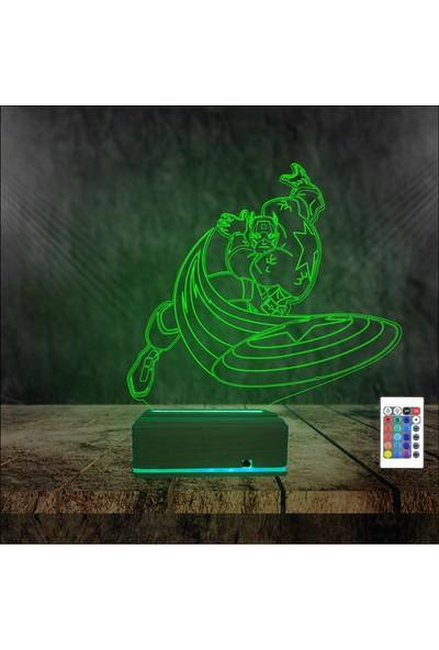 Algelsin Gece Lambası 3D 3 Boyutlu Süper Kahraman Modelli Masa Lambası
