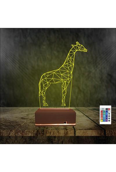 Algelsin Gece Lambası Zürafa Tasarımlı 3D 3 Boyutlu Masa Lambası