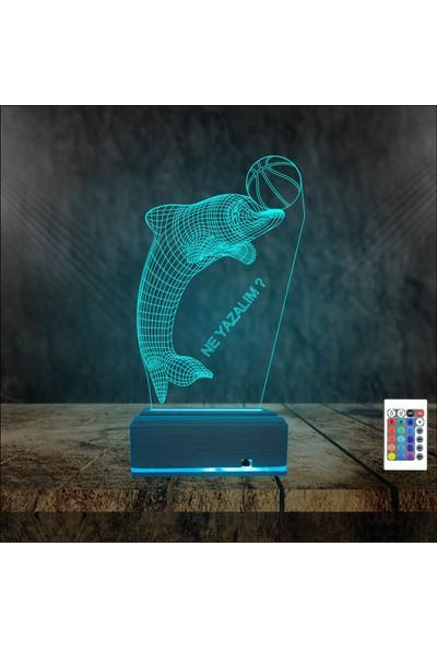Algelsin Kişiye Özel Yazılı 3D Led Yunus 16 Renkli(Kumandalı) Gece Lambası