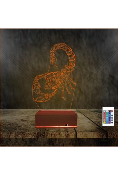 Algelsin Gece Lambası 3 Boyutlu Led Akrep Tasarımlı 16 Renkli Masa Lambası