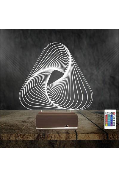 Algelsin Gece Lambası 3D Led Üçgen Modelli Masa Lambası