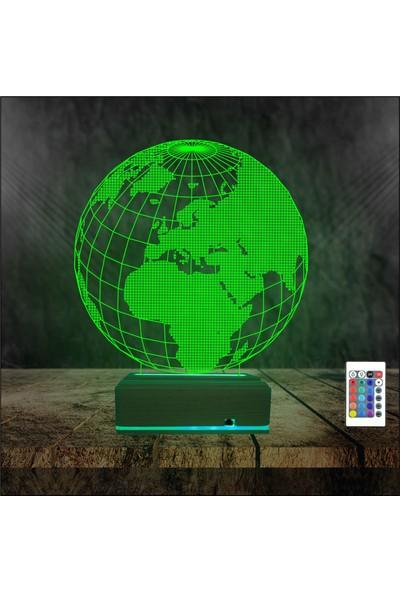 Algelsin Gece Lambası 3D Led Dünya Modelli Masa Lambası