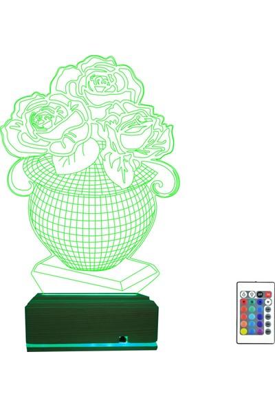 Algelsin 3D 3 Boyutlu Led Sanat Temalı Vazo Tasarımlı 16 Renkli Gece Lambası