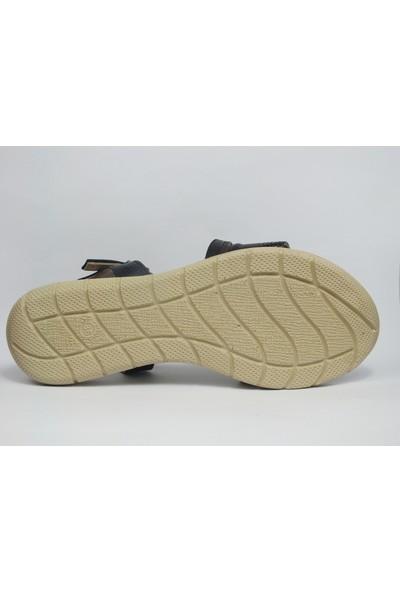 Tria Siyah Baskılı Deri Sandalet Kadın Ayakkabı 01010436