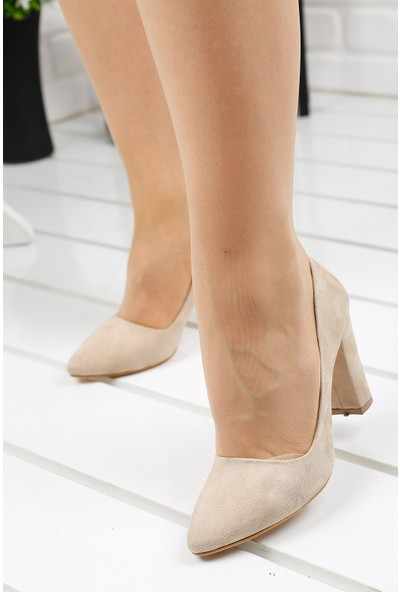 Ayakland 137029-311 Süet Günlük 8 cm Topuk Kadın Ayakkabı