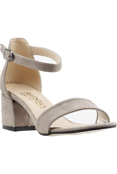 Ayakland Bsm 62 Günlük 5 cm Topuk Kadın Süet Sandalet