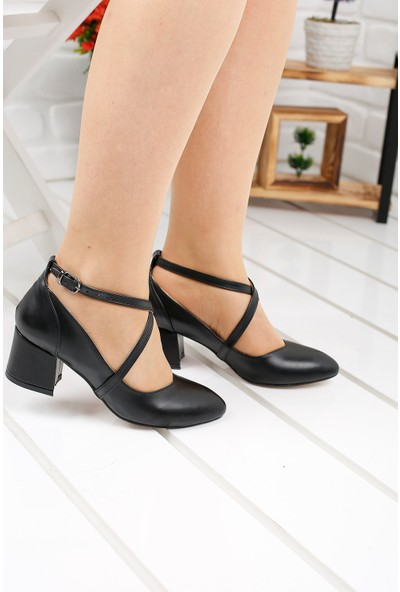 Ayakland 97544-385 Cilt 5 cm Topuk Kadın Sandalet