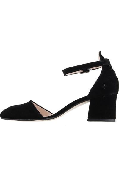 Ayakland 547-346 Günlük 5 cm Topuk Süet Kadın Sandalet