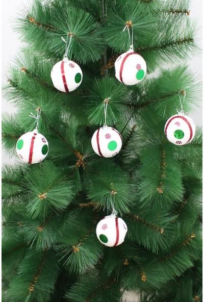 Partioutlet Yılbaşı Ağaç Süsü Beyaz Toplar 6'lı