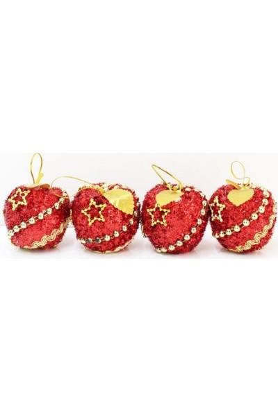 Partioutlet Yılbaşı Ağaç Süsü Kırmızı Elma 4'lü