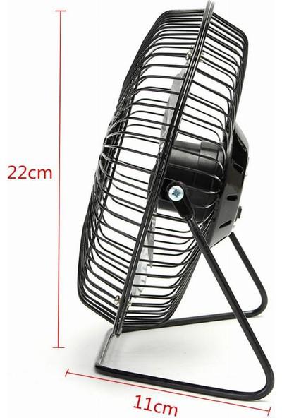 """CoverZone Taşınabilir 8"""" 22 cm 360 Derece Dönerli Masaüstü Metal Vantilatör Tek Kademeli Siyah"""