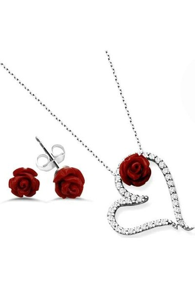 Pigado 925 Ayar Gümüş Zirkon Taşlı Kalpli Gül Kolye Küpe Seti
