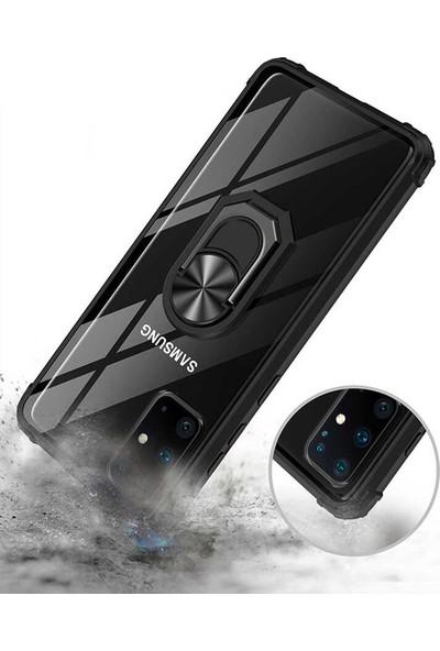 CoverZone Samsung Galaxy A71 Kılıf Yüzük Tutuculu Döner Standlı Freez Siyah