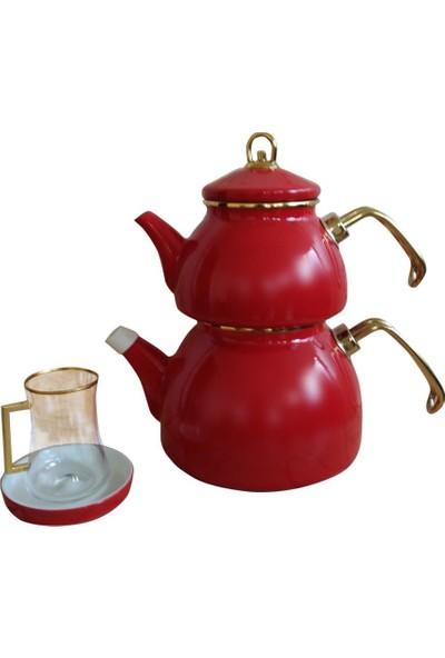 Qedi Emaye Çaydanlık Gold Kırmızı