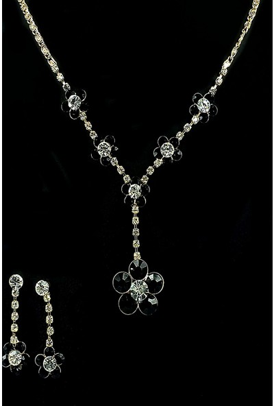 Aphrodite Accessories Kristal Kesme Çiçek Kolye Küpe Set