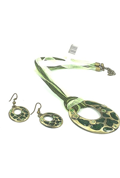 Aphrodite Accessories Leopar Desenli Oval Kolye Küpe Set