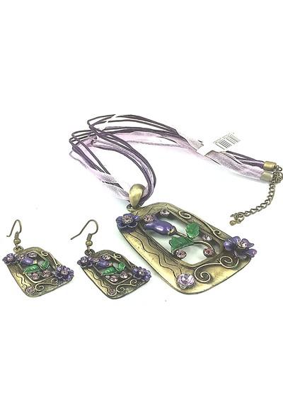 Aphrodite Accessories Çerçeve Çiçek Desenli Kolye Küpe Set