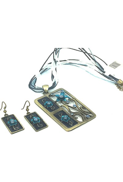 Aphrodite Accessories Dikdörtgen Çiçek Desenli Kolye Küpe Set