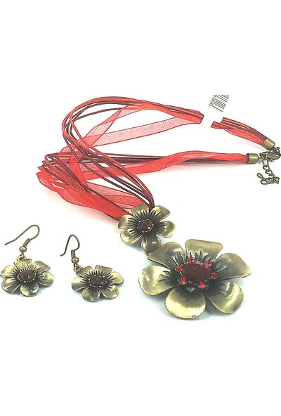 Aphrodite Accessories Çicek Kolye Küpe Set