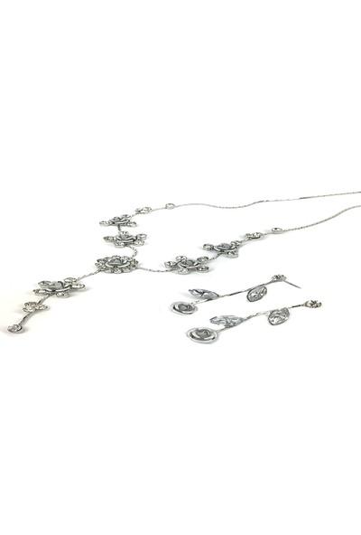 Aphrodite Accessories Metal Gül ve Taşlı Kolye Küpe Set