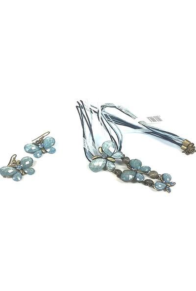 Aphrodite Accessories Üç Kelebek Kolye Küpe Set