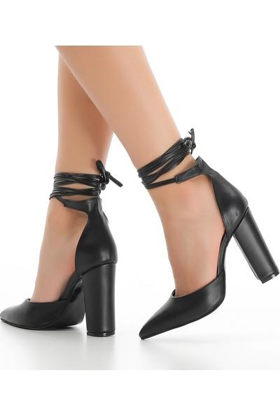 Sothe ECE-1005 Siyah Deri Kadın Klasik Topuklu Tarz Ofis Gece Günlük Kadın Ayakkabı