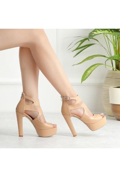 Sothe ECE-1013 Ten Deri Kadın Platform Yüksek Topuklu Çapraz Bantlı Gece Abiye Kadın Ayakkabı
