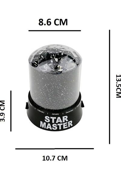 Kristal Başlıklı Yeni Nesil Star Master Renkli ve Işıklı Projeksiyon Gece Lambası