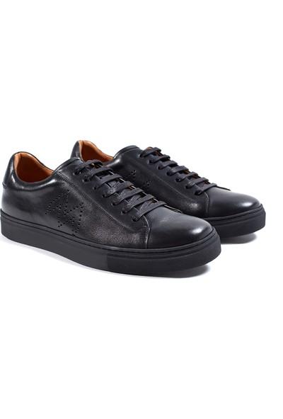 Hemington Siyah El Yapımı Deri Sneakers