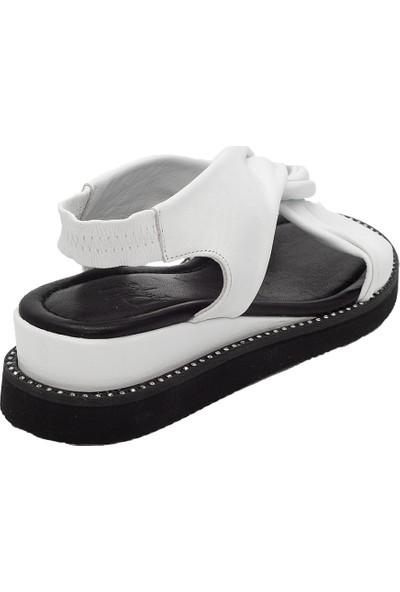 Pelle Tinni Beyaz Deri Sandalet