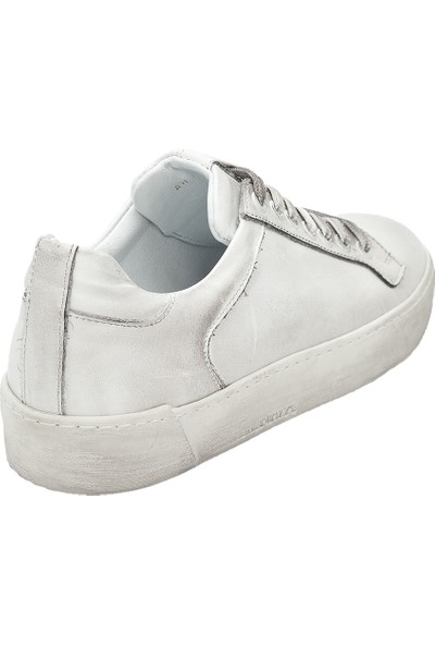Pelle Tinni Deri Eskitme Beyaz Casual Ayakkabı