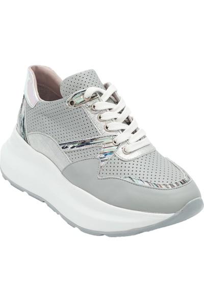 Pelle Tinni Deri Gri Casual Ayakkabı