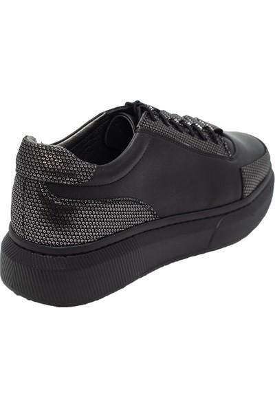 Pelle Tinni Deri Siyah Casual Ayakkabı