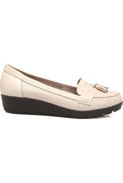 Tergan Bej Deri Kadın Ayakkabı 64203A25