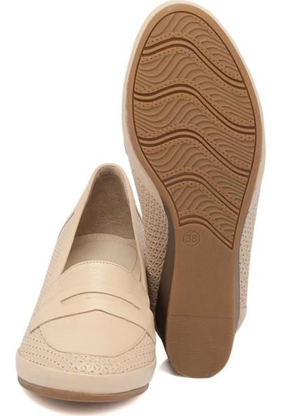 Tergan Bej Deri Kadın Ayakkabı 64342A25