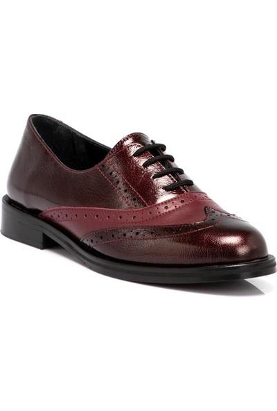 Tergan Bordo Deri Kadın Ayakkabı 64617F14