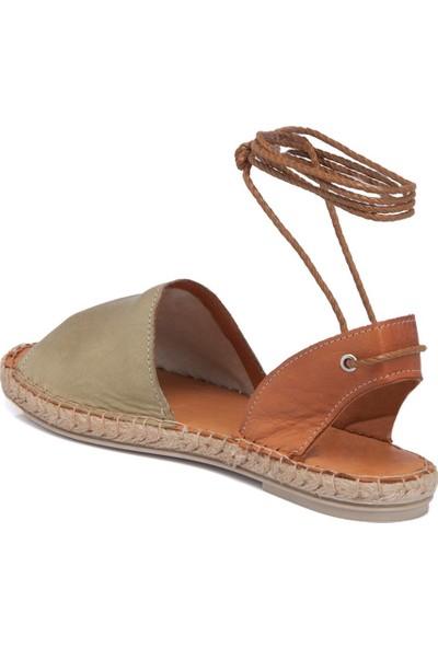 Tergan Haki-Taba Deri Kadın Sandalet 64430O6N