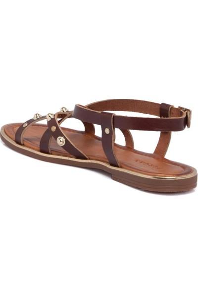 Tergan Kırmızı Deri Deri Kadın Sandalet 64534O7T