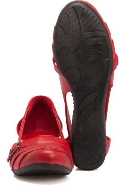 Tergan Kırmızı Deri Kadın Ayakkabı 64467A30