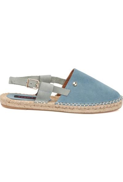 Tergan Kot Mavi Deri Kadın Sandalet 64368C31