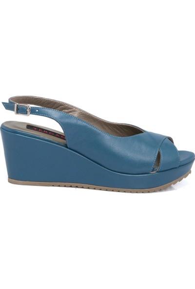 Tergan Kot Mavi Deri Kadın Sandalet 64416K67