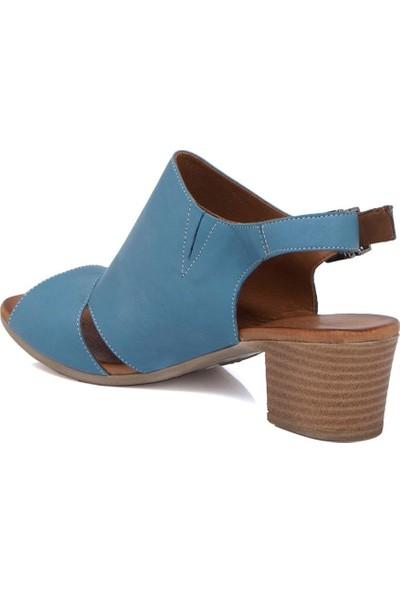 Tergan Mavi Deri Kadın Ayakkabı 64403J61