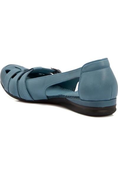 Tergan Mavi Deri Kadın Ayakkabı 64467J61